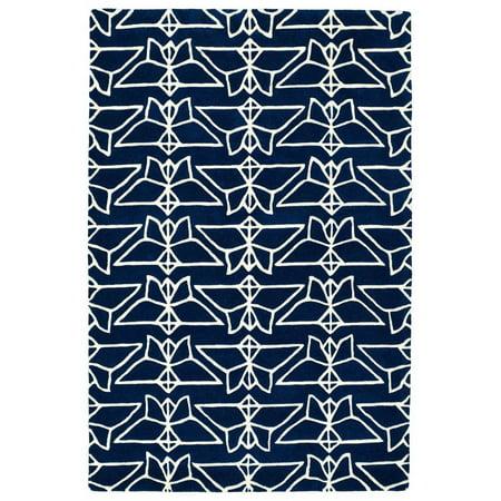 Kaleen Origami Rug In Navy - (2 Foot 6 Inch x 8 Foot)