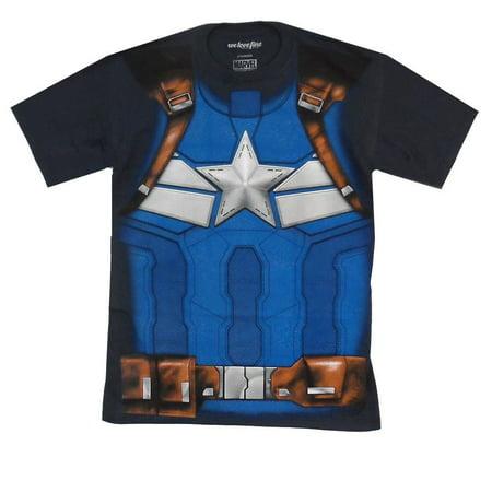 Marvel Captain America I Am The Captain Mens Costume T-Shirt | XL (Captain America Costume Shirt)