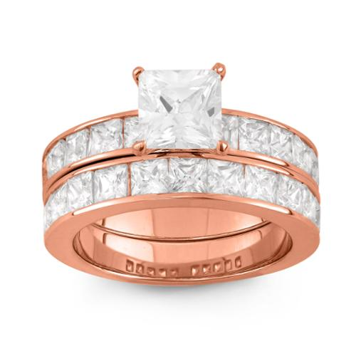 Gioelli Rose Gold over Silver Cubic Zirconia Princess-cut 2-piece Bridal Ring Set Size 8