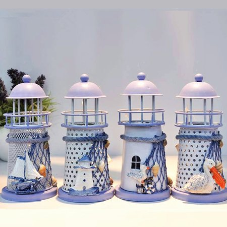 Vintag  Iron House Lighthouse Candle Holder Lantern Candlestick Candelabrum Mediterranean Style Gift - Tower Candlestick