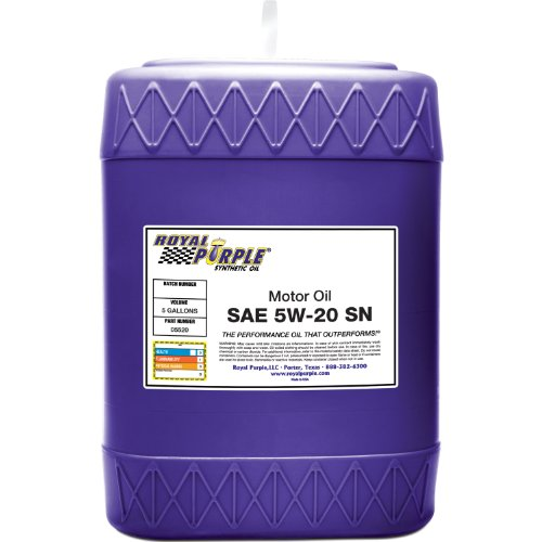 Royal Purple 05520 API-Licensed SAE 5W-20 High Performance Synthetic Motor Oil - 5 gal.