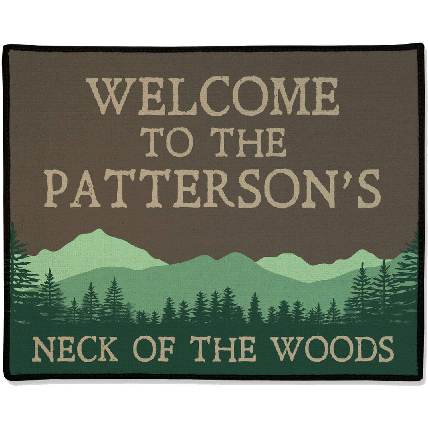 "Personalized Mountains & Trees Welcome Doormat, 19.5"" x 15.5"""