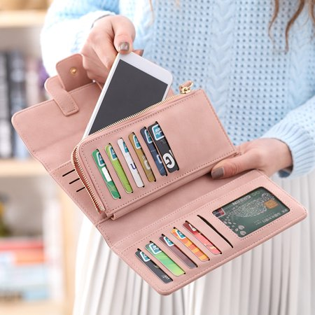 Women Fashion PU Leather Phone Wallet Bag Trifold Button handBag Card Holder for for under 5inch Cellphone - image 3 de 9