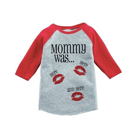 Custom For Kids (Custom Party Shop Kids Mommy Was Here Valentine's Day Red Raglan - Medium Youth (10-12))