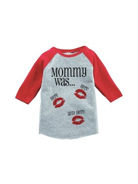 Custom Party Shop Kids Mommy Was Here Valentine's Day Red Raglan - Medium Youth (10-12) T-shirt