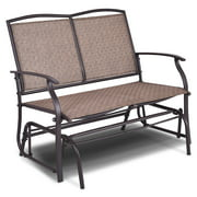 Gymax Patio Loveseat Glider Rocking Bench Double Chair With Arm Backyard Outdoor