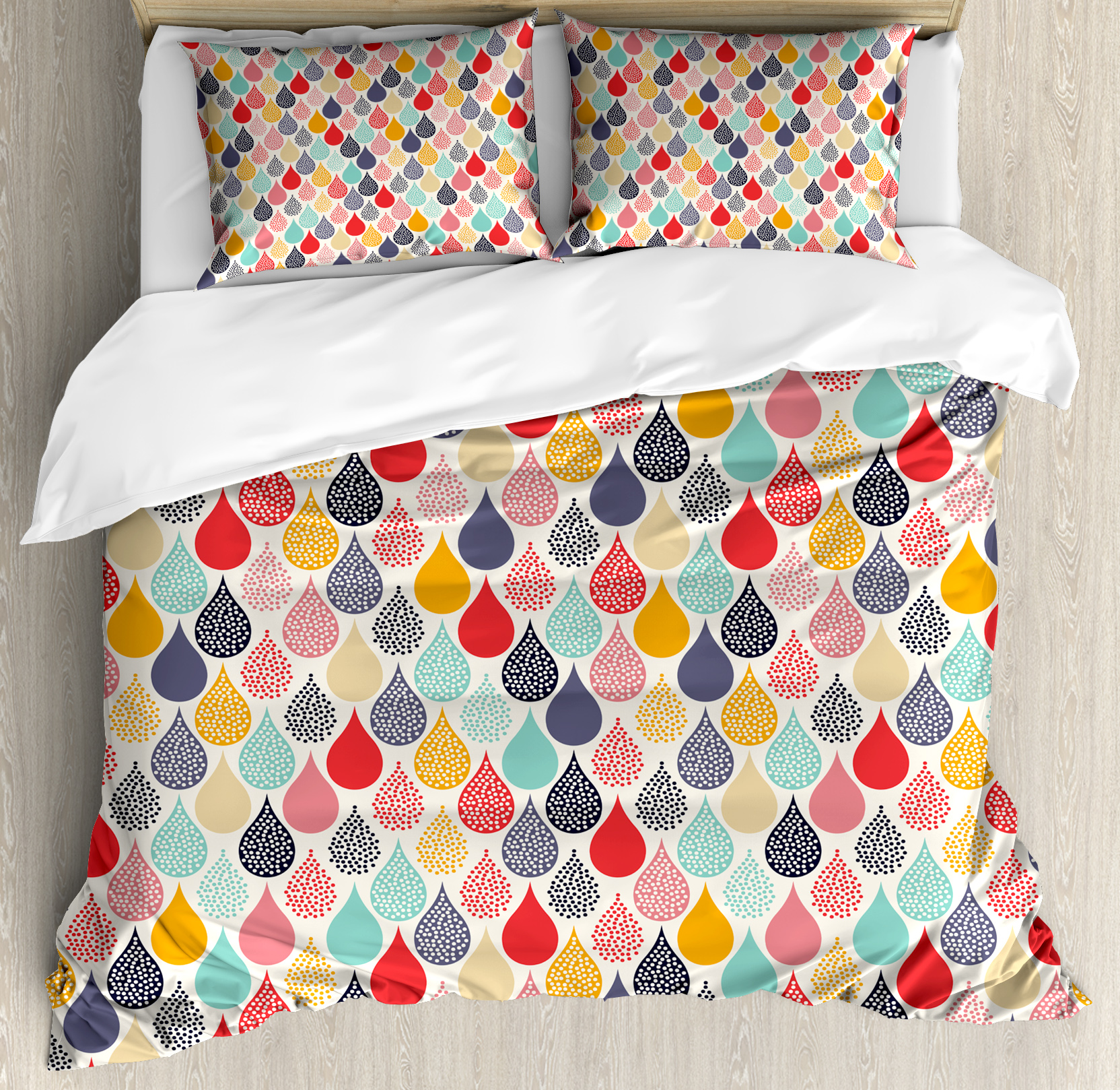 Geometric King Size Duvet Cover Set, Raindrops Doodle Style Cute Creative Leaf Shaped... by Kozmos