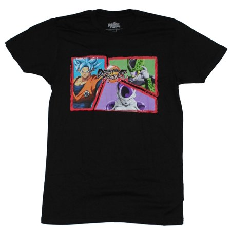 Dragon Ball Figther Z Mens T-Shirt - Goku Vs Cell in Action Boxes