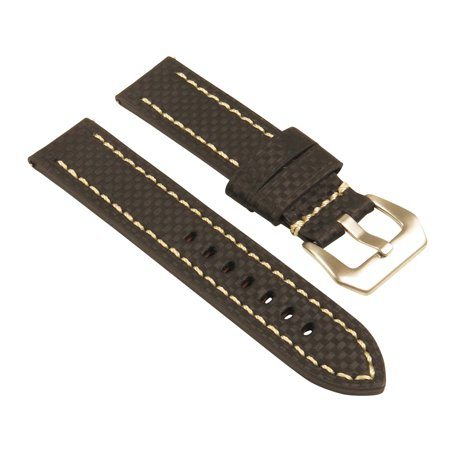 StrapsCo Heavy Duty Men's Carbon Fiber Leather Watch Band - Quick Release Strap - 20mm 22mm 24mm 26mm - image 1 of 5