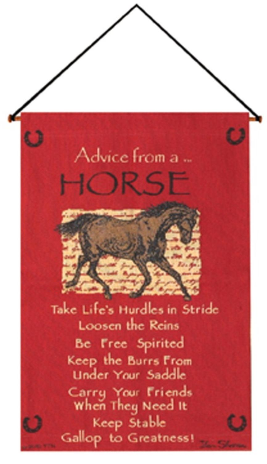 "Crimson Red ""Advice from A Horse"" Wall Artwork Hanging Tapestry 17"" x 26"" by Manual Weavers"