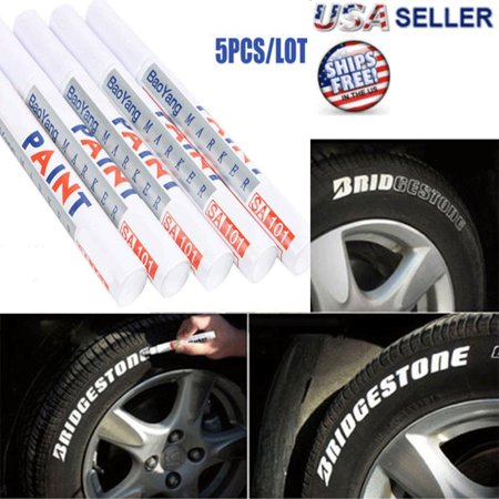 5X Tire Permanent WHITE Paint Markers Pen Lettering Rubber White Wall Side Oil (Body Paint Pants)