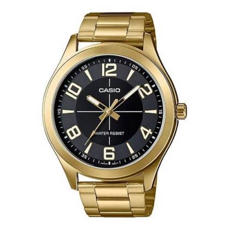 Casio MTP-VX01G-1B Men's Gold Tone Stainless Steel Big Case Black Dial Watch
