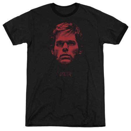 Bloody Face (Dexter Bloody Face Mens Adult Heather Ringer)