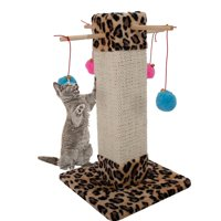 Zimtown 20 in Cat Scratching Post with Hanging Ball Toy House , Leopard