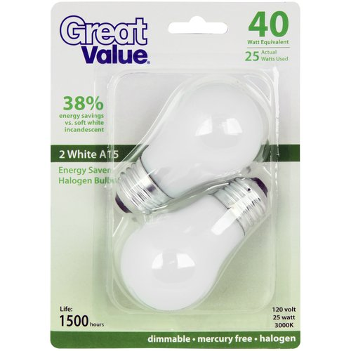Great Value 25W White Halogen Bulb, 2-Pack