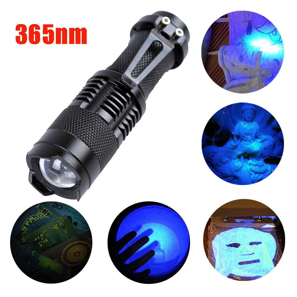 Tuscom Zoomable Led UV Flashlight Torch Light 365nm Ultra Violet Blacklight AA Battery