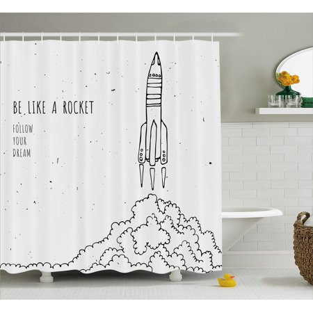 Kids Shower Curtain, Quote for Dream and Space Lovers Be Like Rocket ...