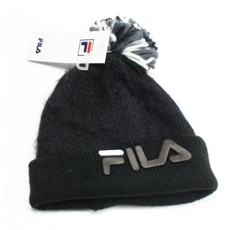 Fila - FILA NEW Black Embroidered Logo Pom-Pom Men s One Size Solid Beanie  - Walmart.com 68314f94e290