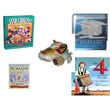 - Children's Gift Bundle [5 Piece] -  Stir Crazy! Italian  - Solid Wood Jumbling Tower In A Tin  - The Original Jungle Stubbles Hippo  8