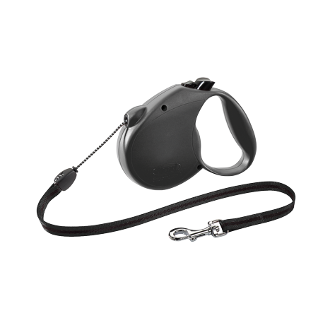 flexi Retractable Dog Leash (Cord), 16 ft, Medium, Black (Dog Leash 16 Feet)