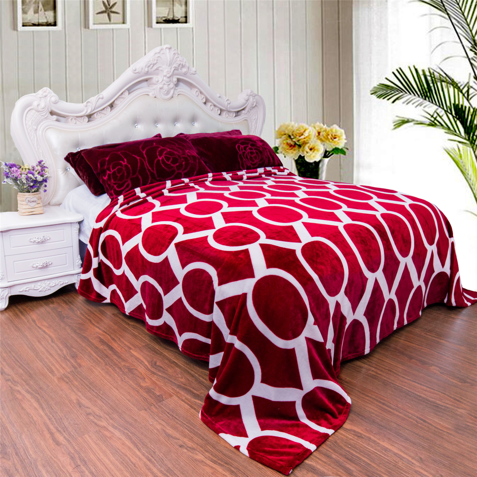 """Super Soft Printed Plush Fleece Blanket for Bed Couch King Size 91"""" x 103"""""""