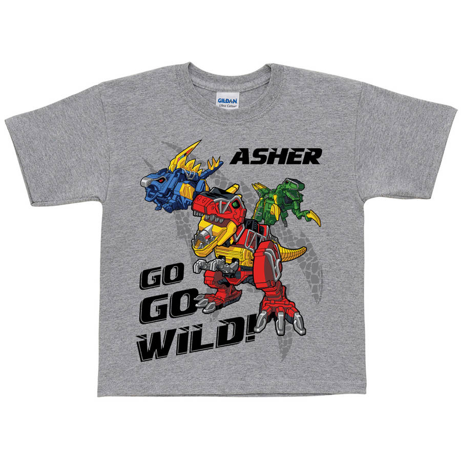Personalized Power Rangers Dino Charge Dinozords Toddler Boys' Grey T-Shirt