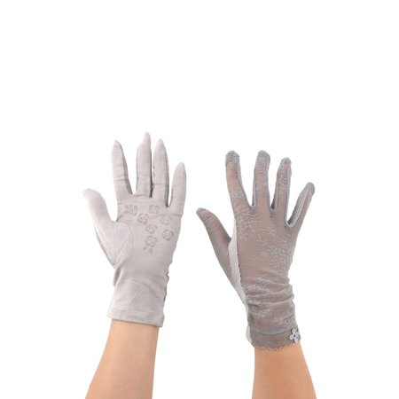 Women Summer Car Driving Lace Full Finger Thin Sun Protection Gloves Gray Pair (Wholesale Lace Gloves)