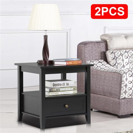Yaheetech Black End Table with Bottom Drawer and Open Storage Shelf for Living Room Sofa Side Table Set of 2