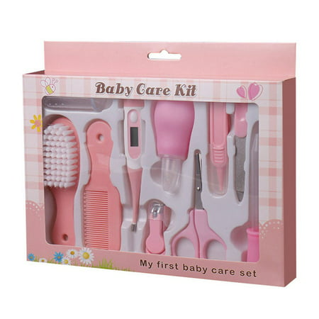10pcs Baby Infant Health Care Set Multi Functions Newborn Nose Cleaner Nails Clipper Tweezers Thermometer Kit (Best Baby Nail Clipper Set)
