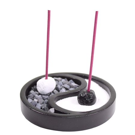 Tabletop Taiji Yin Yang Zen Garden Sand Rock Candle Incense Burner Home Decor NEW -D