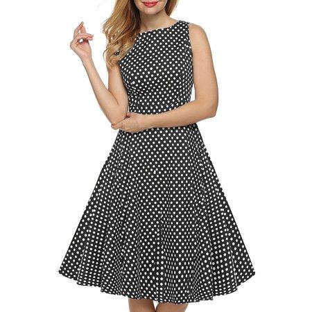 Sleeveless Polka Dot Print Hepburn Style Vintage Dress