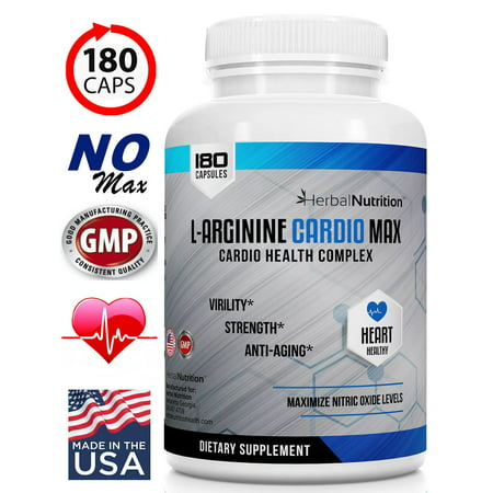 L-Arginine Cardio Max | 1500mg Cardio Support Blend | One 180 Count | Includes L-Arginine, L-Citrulline, Vitamins & Minerals To Support Cardio Health, BP, Cholesterol, Energy & Nitric Oxide Levels*