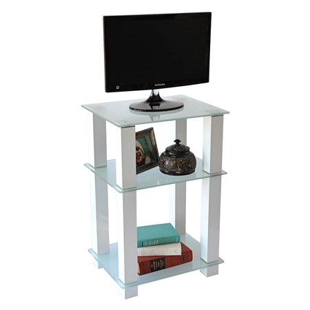 RTA Home & Office TVM-005W Extra Tall Glass, White LCD, Plasma TV Stand & Utility Table or End Table ()