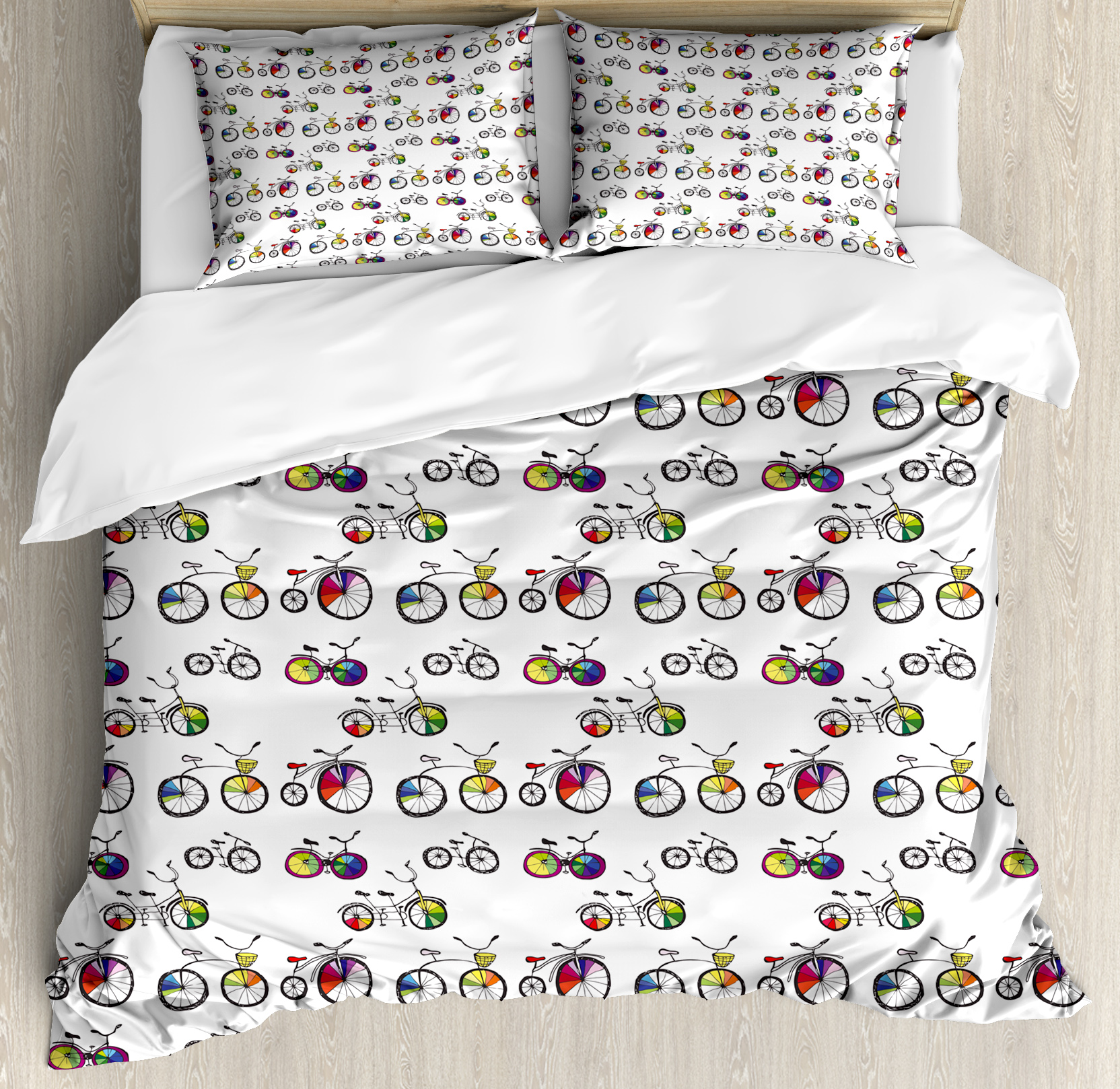 Bicycle King Size Duvet Cover Set, Hand Drawn Penny-Farthing Tandem and City Bikes with Colored Rims Cartoon Style, Decorative 3 Piece Bedding Set with 2 Pillow Shams, Multicolor, by Ambesonne