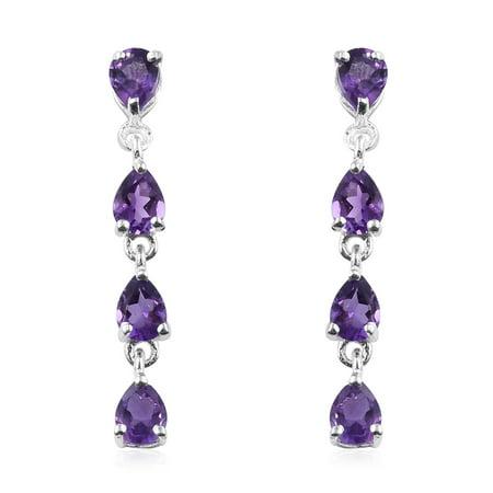 925 Sterling Silver Pear Garnet Dangle Drop Earrings for Women Cttw 1.3 Jewelry Gift