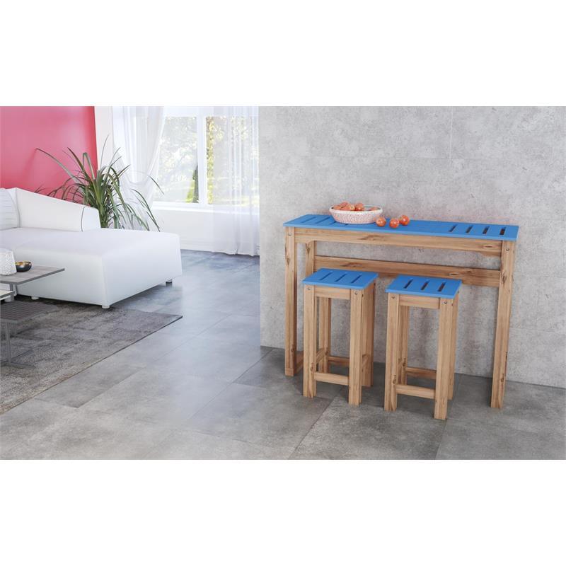 "3-Piece Stillwell 47.3"" Bar Kitchen Set  in Blue and Natural Wood"
