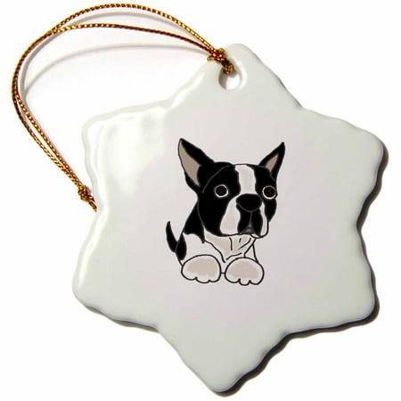 Boston Terrier Dog Ornament - 3dRose Cute Boston Terrier Puppy Dog Original - Snowflake Ornament, 3-inch