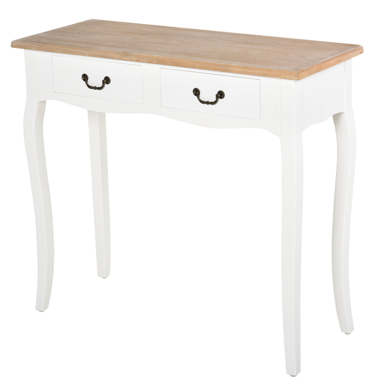 Homcom Entryway Console Table With 2 Convenient Storage Drawers Tabletop For Display Vintage Design White Walmart Com Walmart Com