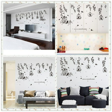 Wall Sticker Bird Cage Tree Leaves Sticker Decal Vinyl Wall Art Mural Living Room Home Decor Removable Decoration Poater Walmart Canada