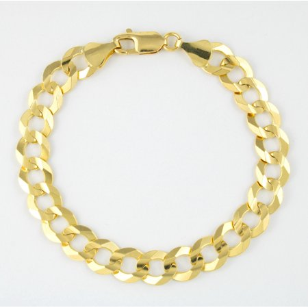 10k Yellow Gold Mens Solid 10mm Curb Cuban Link Chain Bracelet, 8