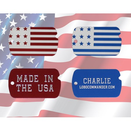 Custom Engraved Personalized Patriotic American Flag Military ID Pet Tag for Dogs & Cats w/ Up To Five Lines Of Text