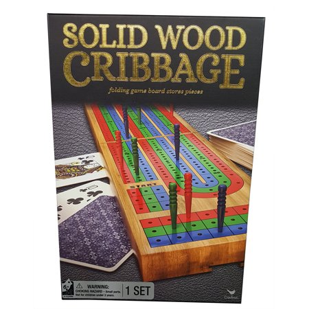 Solid Wood Cribbage Folding Board with Playing (Folding Cribbage Board)
