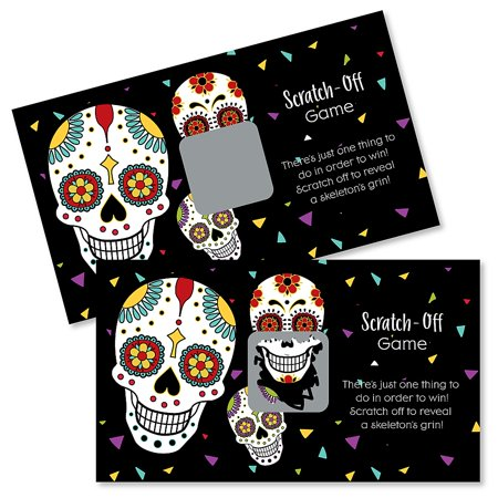Day of The Dead - Halloween Sugar Skull Party Game Scratch Off Card - 22 Count - Kids Party Games Halloween