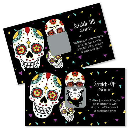 Day of The Dead - Halloween Sugar Skull Party Game Scratch Off Card - 22 Count - Halloween Party Homemade Games