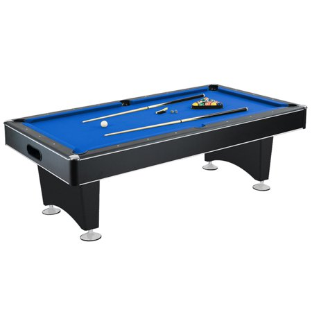 Hathaway Hustler Pool Table with Blue Felt, Internal Ball Return System, Easy Assembly, Pool Cues and Chalk
