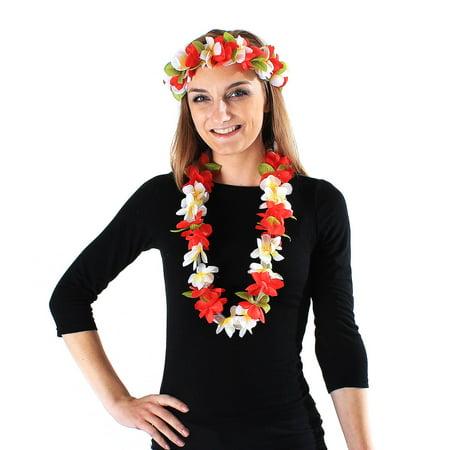 Hawaii Luau Party Artificial Fabric Princess Lei and Head Band Haku Set Red White