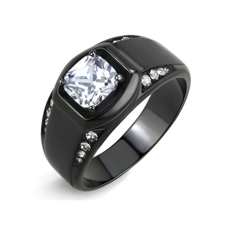 - 7x7mm Cushion Cut CZ Center Two Row Side Stone Black IP Stainless Steel Mens Ring - Size 9
