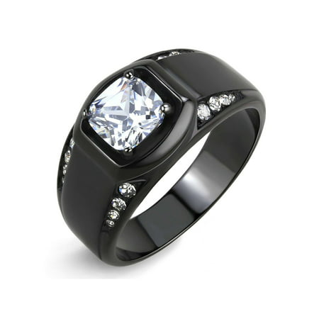 7x7mm Cushion Cut CZ Center Two Row Side Stone Black IP Stainless Steel Mens Ring - Size 9