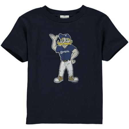 Navy Blue Toddler T-shirt - Milwaukee Brewers Toddler Distressed Mascot T-Shirt - Navy Blue