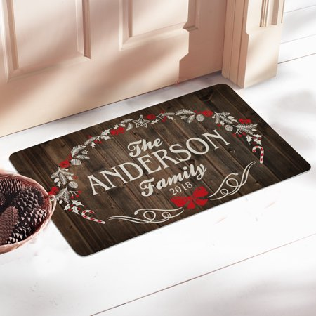 Personalized Rustic Christmas Doormat ()